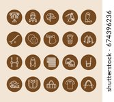 horse polo flat line icons.... | Shutterstock .eps vector #674396236