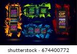 futuristic frame art design... | Shutterstock . vector #674400772