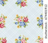 seamless floral pattern with... | Shutterstock .eps vector #674401912