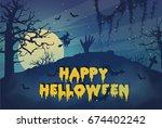 happy helloween. cemetery in...   Shutterstock .eps vector #674402242