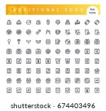 set of 80 additional food line... | Shutterstock .eps vector #674403496