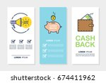 set of money cash back flyers... | Shutterstock .eps vector #674411962