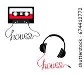 plastic audio tape cassette...   Shutterstock .eps vector #674412772