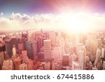 clouds against blue sky against ... | Shutterstock . vector #674415886