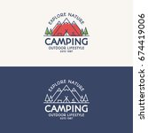 camping logo set color and line ... | Shutterstock .eps vector #674419006