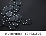 high angle view of black chips... | Shutterstock . vector #674421508