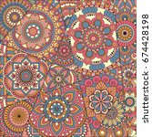 pattern with mandalas. vintage... | Shutterstock .eps vector #674428198