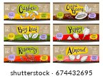 set of colorful labels sketch... | Shutterstock .eps vector #674432695