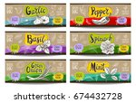 set of colorful labels sketch... | Shutterstock .eps vector #674432728