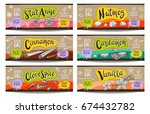 set of colorful labels sketch... | Shutterstock .eps vector #674432782