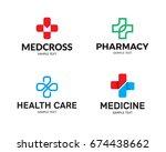 medical cross logo design... | Shutterstock .eps vector #674438662
