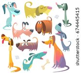 cartoon dogs set. vector... | Shutterstock .eps vector #674445415