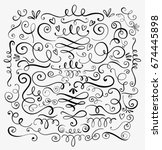 hand drawn decorative curls and ... | Shutterstock .eps vector #674445898