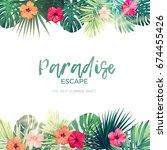 green summer tropical... | Shutterstock .eps vector #674455426