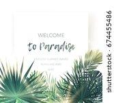 green summer tropical... | Shutterstock .eps vector #674455486