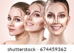 collage of woman's faces with... | Shutterstock . vector #674459362
