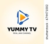 yummy tv logo design template.... | Shutterstock .eps vector #674471002