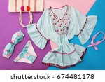 beach fashion. stylish bikini | Shutterstock . vector #674481178