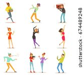 happy people characters... | Shutterstock .eps vector #674489248