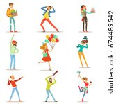 happy people celebrating ... | Shutterstock .eps vector #674489542