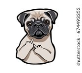 Stock vector pug puppy face dog portait with middle finger up vector illustration isolated on white background 674493352