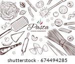 italian pasta frame. different... | Shutterstock .eps vector #674494285