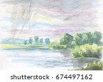 rain over the lake | Shutterstock . vector #674497162