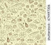 hand drawn fresh bakery pattern.... | Shutterstock .eps vector #674497306