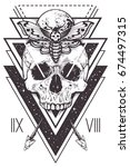 vector boho design of skull... | Shutterstock .eps vector #674497315