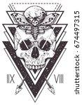 vector boho design of skull... | Shutterstock .eps vector #674497315