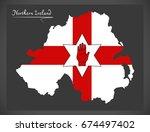northern ireland map with... | Shutterstock .eps vector #674497402