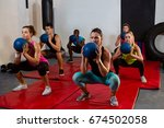 young athletes crouching with... | Shutterstock . vector #674502058