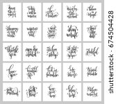 set of 25 hand lettering... | Shutterstock . vector #674504428