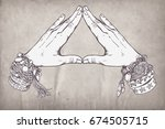human hands make triangle shape ...