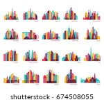Stock vector skyline silhouette set india china japan seoul jakarta bangkok kuwait dubai saudi arabia 674508055