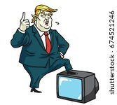 donald trump with television....   Shutterstock .eps vector #674521246