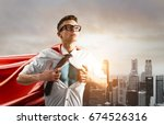 business superhero. young... | Shutterstock . vector #674526316