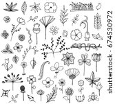 set of elements flower doodle... | Shutterstock .eps vector #674530972