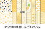 set of geomterical yellow... | Shutterstock .eps vector #674539732