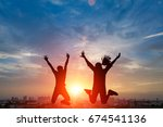 silhouette of happy people... | Shutterstock . vector #674541136