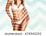 beautiful model with a perfect... | Shutterstock . vector #674542252