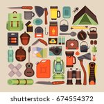 camping equipment icons.vector... | Shutterstock .eps vector #674554372