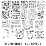 mega set of icon doodles of... | Shutterstock .eps vector #674554576