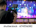 covering an event on stage with ... | Shutterstock . vector #674556382