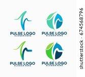 set of pulse logo template... | Shutterstock .eps vector #674568796