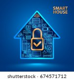silhouette smart home with... | Shutterstock .eps vector #674571712