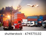 forklift handling container box ... | Shutterstock . vector #674575132