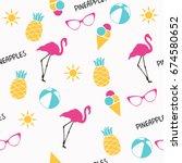 summer pattern. flamingo ... | Shutterstock .eps vector #674580652