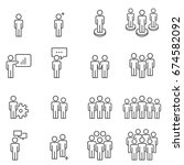people icons line work group... | Shutterstock .eps vector #674582092
