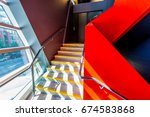 staircase painted in red.... | Shutterstock . vector #674583868